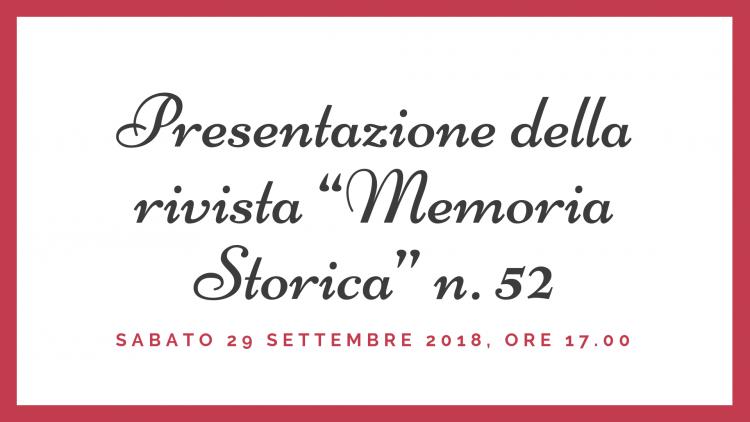 """[Pro Loco Cesi] Presentazione della rivista """"Memoria Storica"""" n. 52"""