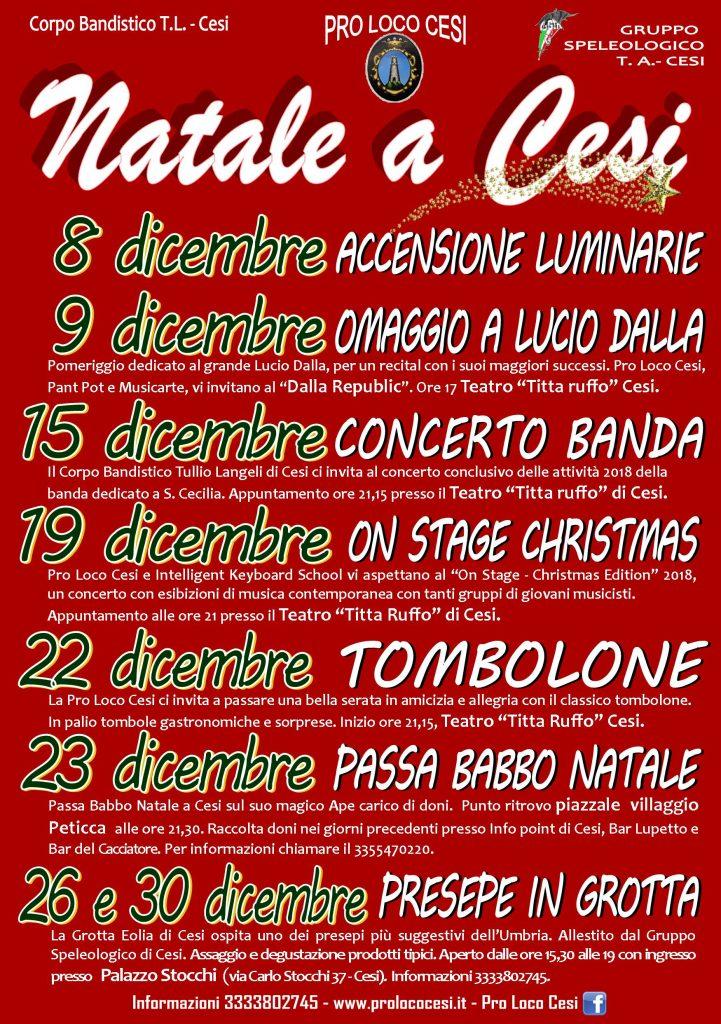 Eventi Natale 2018 a Cesi, Terni